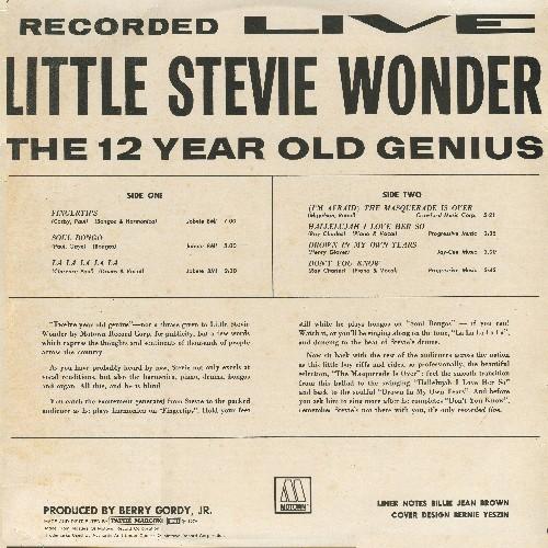 Stevie Wonder - 12 Year Old Genius album back cover